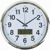 Italplast Wall Clock Inset LCD Date Month Temperature 43cm Round Chrome Frame White Face