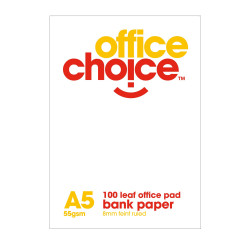 OFFICE CHOICE OFFICE PAD A5 100lf Bank Ruled 60gsm